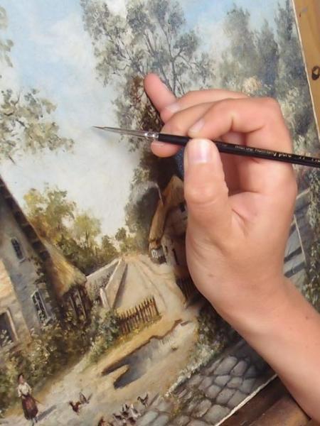 Réintégration picturale Restauration tableau A atelier Badeuil
