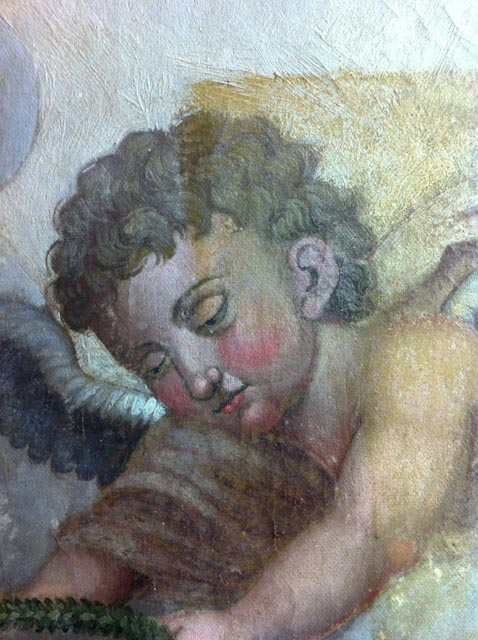 Allègement de vernis d'un tableau religieux