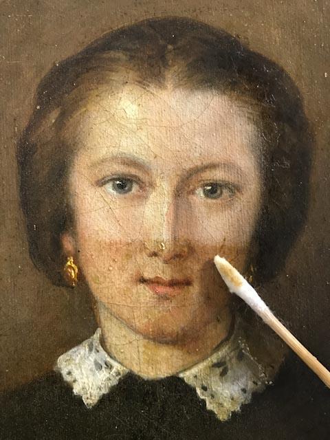 Allègement de vernis portrait 19e Atelier Badeuil