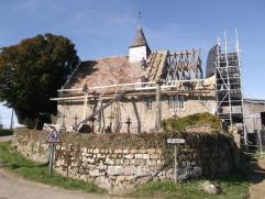 Eglise de Méguillaume en cours de restauration,