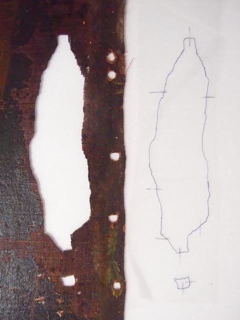Reprise de la forme précise de la lacune de toile