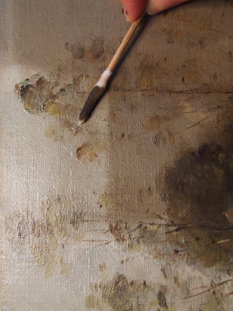 Décrassage d'une couche picturale